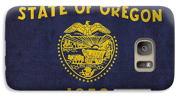 Oregon State Flag Art On Worn Canvas Galaxy S7 Case by Design Turnpike