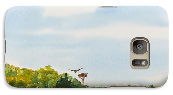 Ospreys On The Vineyard Watercolor Painting Galaxy Case by Michelle Wiarda