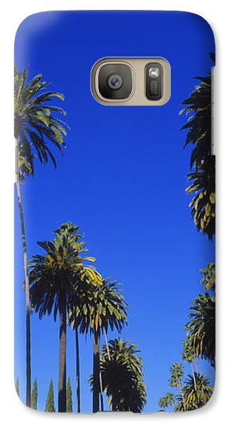 Palm Trees Along A Road, Beverly Hills Galaxy S7 Case by Panoramic Images