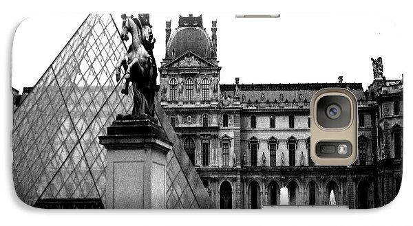 Paris Black And White Photography - Louvre Museum Pyramid Black White Architecture Landmark Galaxy Case by Kathy Fornal