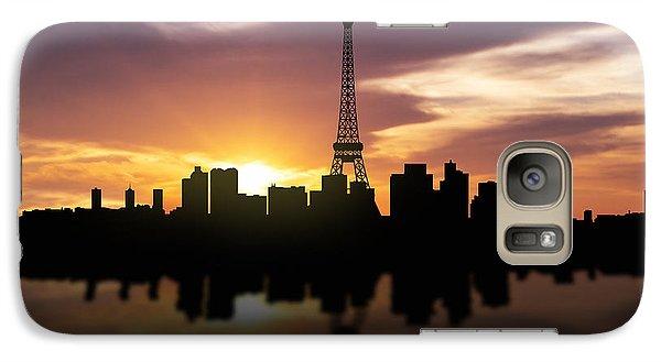 Paris France Sunset Skyline  Galaxy Case by Aged Pixel