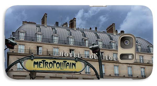 Paris Metropolitain Sign At The Paris Hotel Du Louvre Metropolitain Sign Art Noueveau Art Deco Galaxy Case by Kathy Fornal