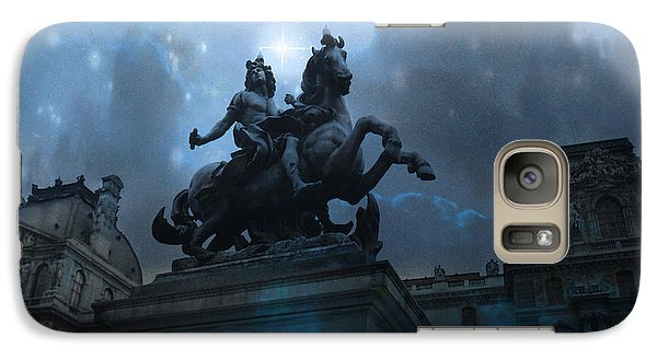 Paris Louvre Museum Blue Starry Night - King Louis Xiv Monument At Louvre Museum Galaxy Case by Kathy Fornal