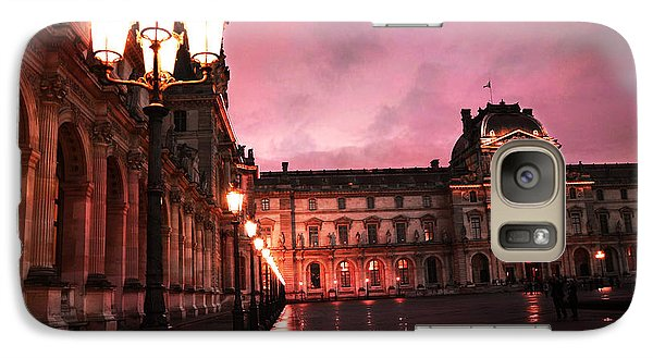Paris Louvre Museum Night Architecture Street Lamps - Paris Louvre Museum Lanterns Night Lights Galaxy Case by Kathy Fornal