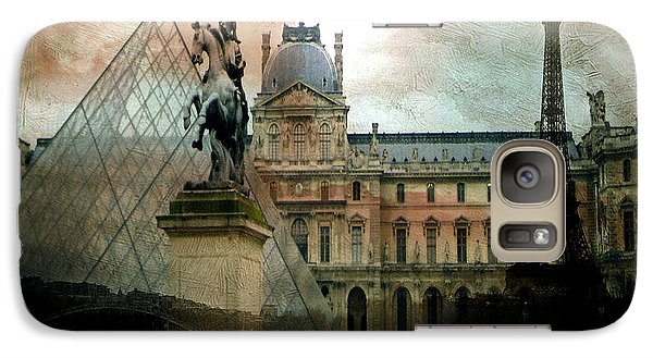 Paris Louvre Museum Pyramid Architecture - Eiffel Tower Photo Montage Of Paris Landmarks Galaxy Case by Kathy Fornal