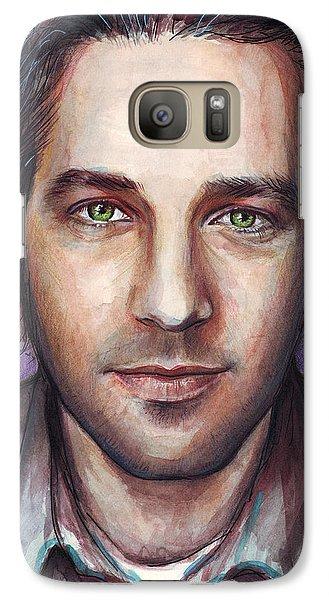 Paul Rudd Portrait Galaxy Case by Olga Shvartsur
