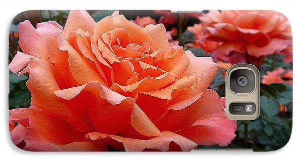 Peach Roses Galaxy Case by Rona Black