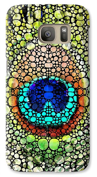 Peacock Feather - Stone Rock'd Art By Sharon Cummings Galaxy S7 Case by Sharon Cummings