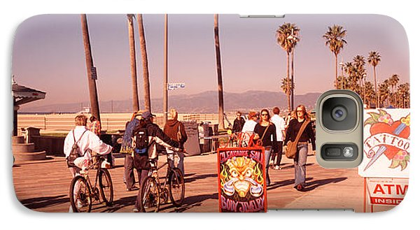 People Walking On The Sidewalk, Venice Galaxy Case by Panoramic Images