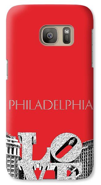 Philadelphia Skyline Love Park - Red Galaxy S7 Case by DB Artist