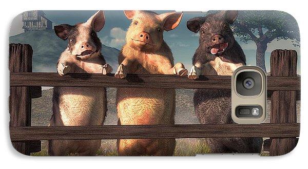 Pigs On A Fence Galaxy Case by Daniel Eskridge