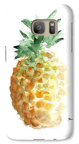 Pineapple Art Print Watercolor Painting Galaxy S7 Case by Joanna Szmerdt
