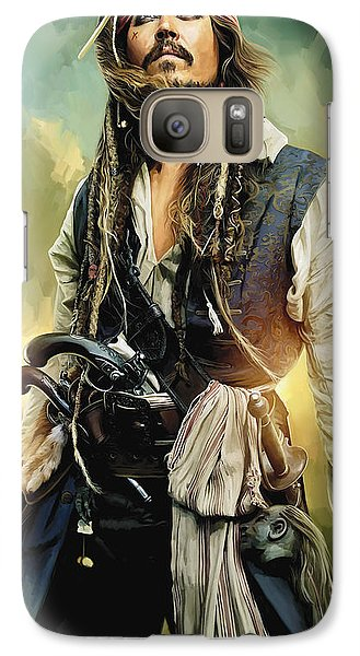 Pirates Of The Caribbean Johnny Depp Artwork 1 Galaxy Case by Sheraz A