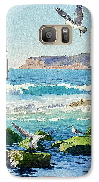 Point Loma Rocks Waves And Seagulls Galaxy Case by Mary Helmreich