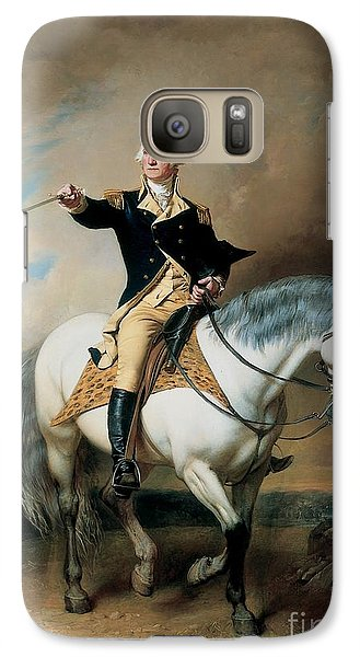 Portrait Of George Washington Taking The Salute At Trenton Galaxy Case by John Faed