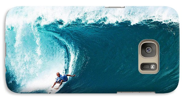 Pro Surfer Kelly Slater Surfing In The Pipeline Masters Contest Galaxy S7 Case by Paul Topp