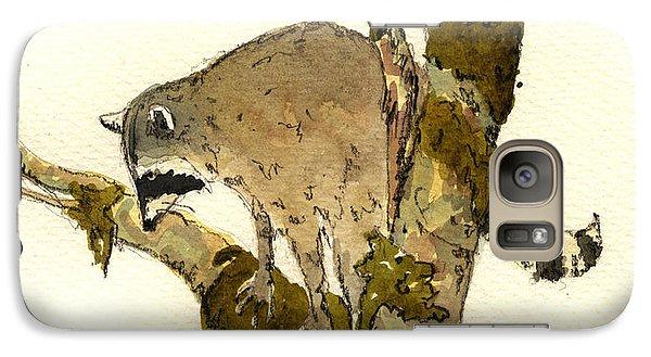 Raccoon On A Tree Galaxy Case by Juan  Bosco