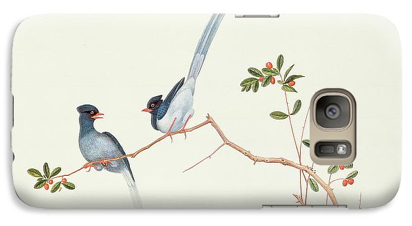 Red Billed Blue Magpies On A Branch With Red Berries Galaxy S7 Case by Chinese School