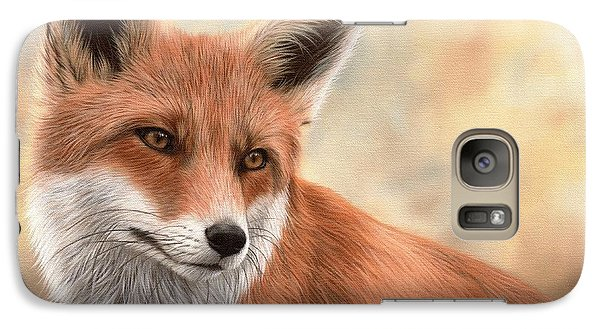 Red Fox Painting Galaxy Case by Rachel Stribbling