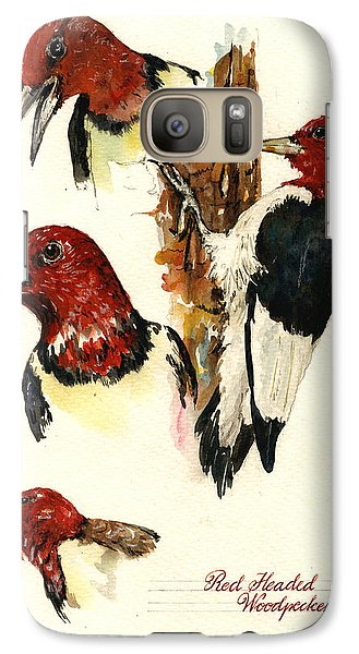 Red Headed Woodpecker Bird Galaxy S7 Case by Juan  Bosco