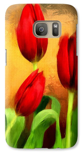Red Tulips Triptych Section 2 Galaxy Case by Lourry Legarde
