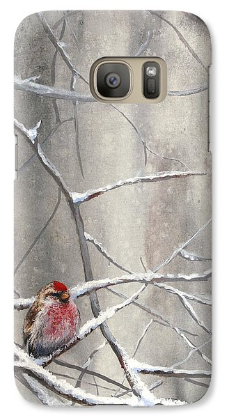 Redpoll Eyeing The Feeder - 1 Galaxy S7 Case by Karen Whitworth
