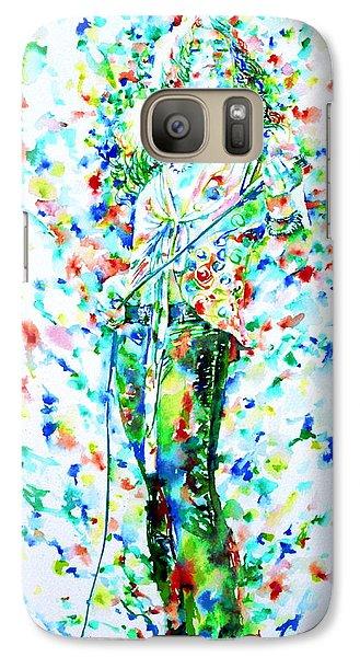 Robert Plant Singing - Watercolor Portrait Galaxy S7 Case by Fabrizio Cassetta