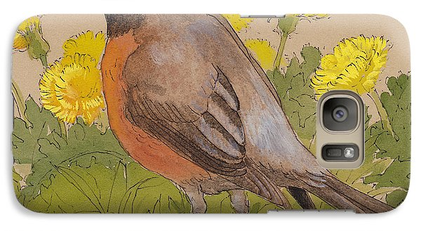 Robin In The Dandelions Galaxy Case by Tracie Thompson