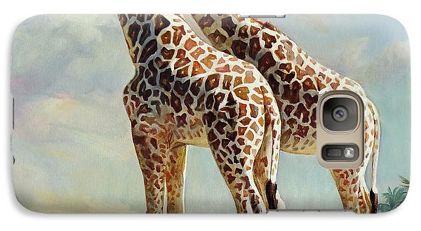 Romance In Africa - Love Among Giraffes Galaxy Case by Svitozar Nenyuk