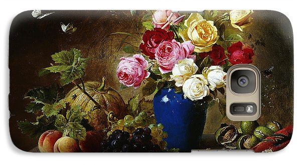 Roses In A Vase Peaches Nuts And A Melon On A Marbled Ledge Galaxy S7 Case by Olaf August Hermansen
