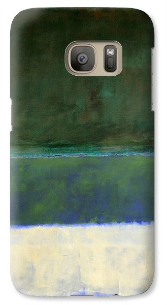 Rothko's No. 14 -- White And Greens In Blue Galaxy S7 Case by Cora Wandel