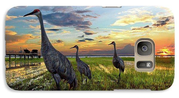 Sandhill Sunset Galaxy Case by Debra and Dave Vanderlaan