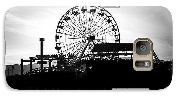 Santa Monica Ferris Wheel Black And White Photo Galaxy Case by Paul Velgos