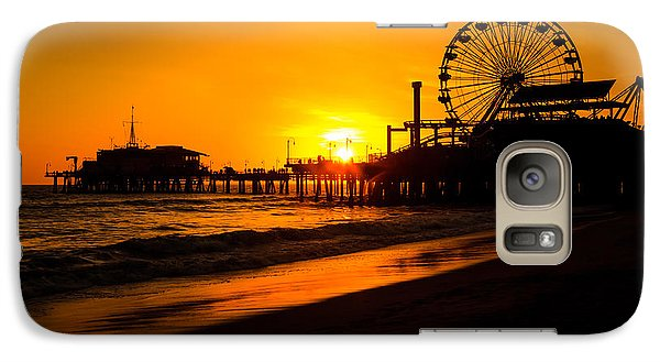 Santa Monica Pier California Sunset Photo Galaxy Case by Paul Velgos
