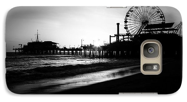 Santa Monica Pier In Black And White Galaxy Case by Paul Velgos