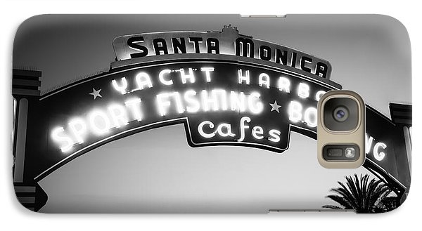 Santa Monica Pier Sign In Black And White Galaxy Case by Paul Velgos