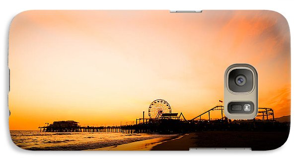 Santa Monica Pier Sunset Southern California Galaxy Case by Paul Velgos