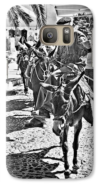 Santorini Donkey Train. Galaxy S7 Case by Meirion Matthias