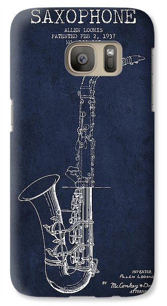 Saxophone Patent Drawing From 1937 - Blue Galaxy S7 Case by Aged Pixel