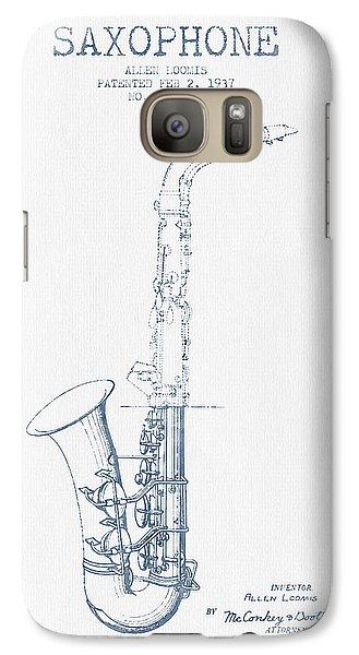 Saxophone Patent Drawing From 1937 - Blue Ink Galaxy S7 Case by Aged Pixel