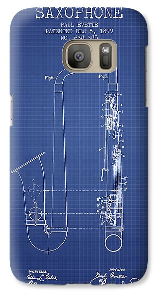 Saxophone Patent From 1899 - Blueprint Galaxy S7 Case by Aged Pixel