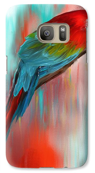 Scarlet- Red And Turquoise Art Galaxy S7 Case by Lourry Legarde
