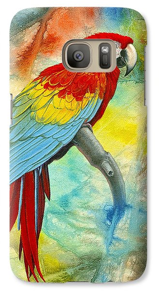 Scarlet Macaw In Abstract Galaxy S7 Case by Paul Krapf