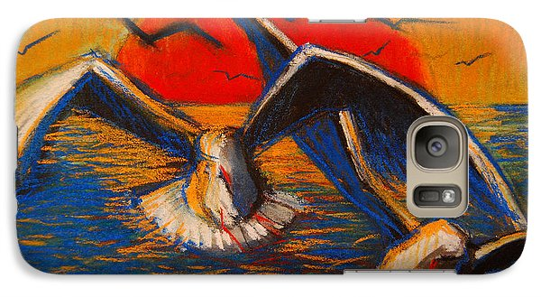 Seagulls At Sunset Galaxy Case by Mona Edulesco