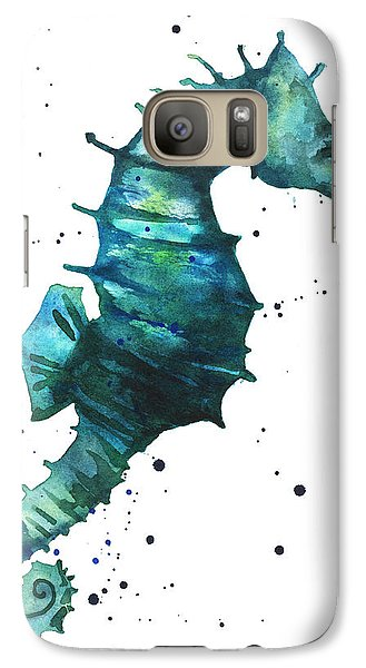 Seahorse In Teal Galaxy S7 Case by Alison Fennell