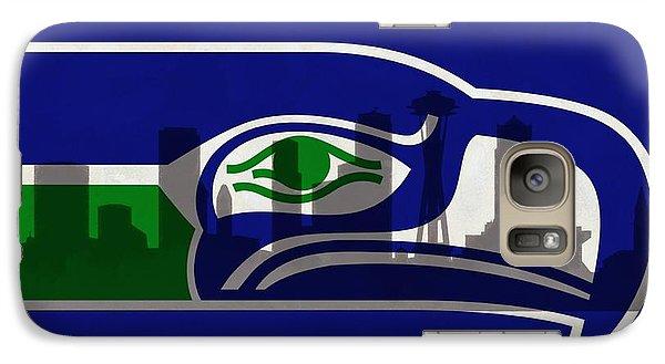 Seattle Seahawks On Seattle Skyline Galaxy Case by Dan Sproul