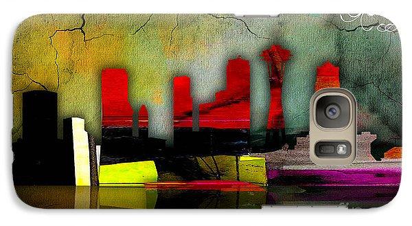 Seattle Skyline Watercolor Galaxy Case by Marvin Blaine