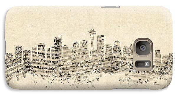 Seattle Washington Skyline Sheet Music Cityscape Galaxy Case by Michael Tompsett