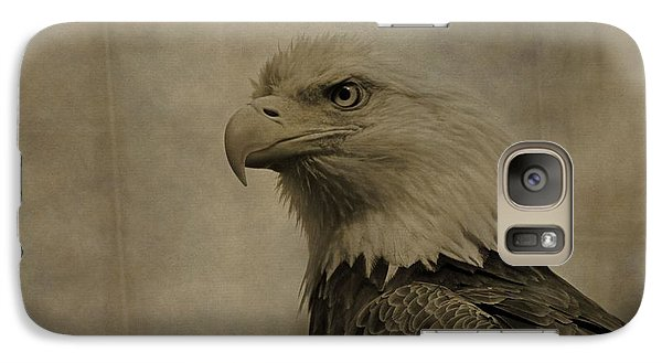Sepia Bald Eagle Portrait Galaxy Case by Dan Sproul