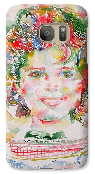 Shirley Temple - Watercolor Portrait.1 Galaxy Case by Fabrizio Cassetta